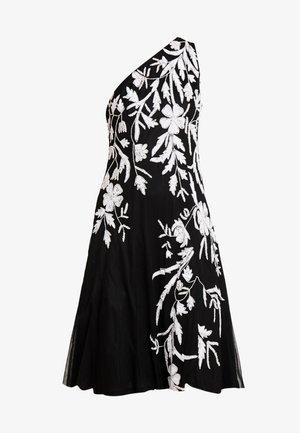 BEADED ONE SHOULDER DRESS - Cocktailjurk - black/ivory