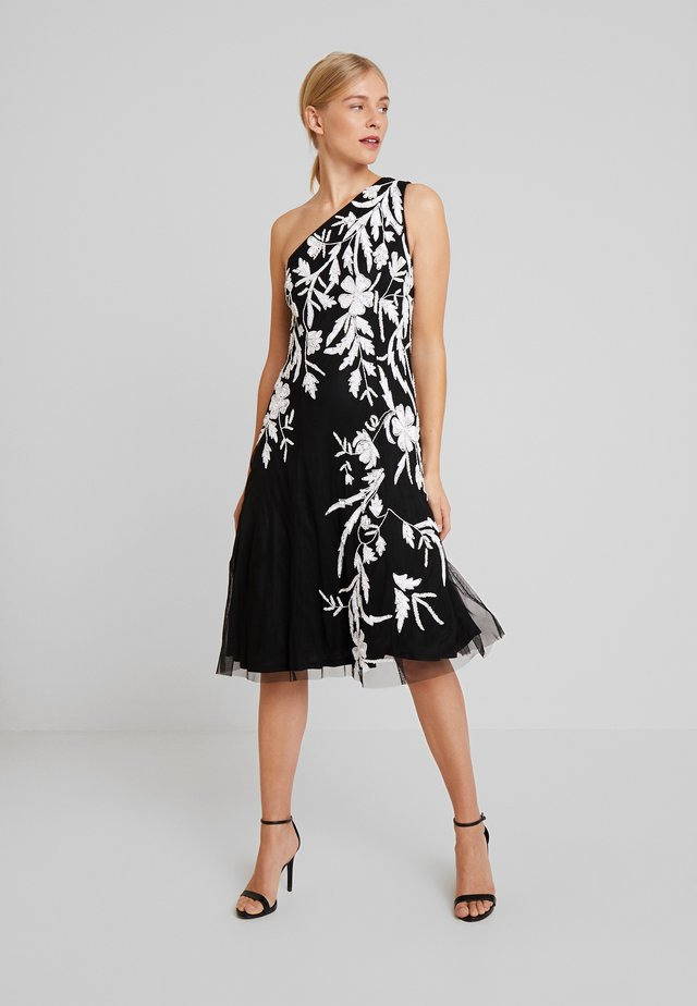 BEADED ONE SHOULDER DRESS - Cocktailkjoler / festkjoler - black/ivory
