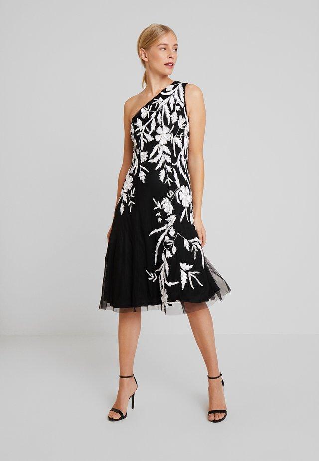 BEADED ONE SHOULDER DRESS - Sukienka koktajlowa - black/ivory