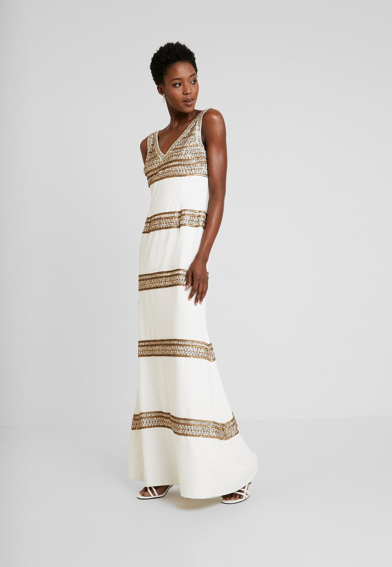 Adrianna Papell - BEADED LONG DRESS - Occasion wear - ivory/gold