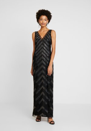 BEADED V NECK COLUMN - Suknia balowa - black/gunmetal