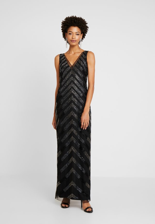 BEADED V NECK COLUMN - Ballkjole - black/gunmetal