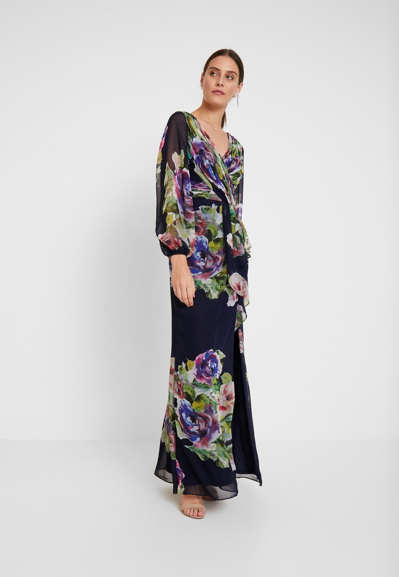 Adrianna Papell - FLORAL PRINTED GOWN - Ballkleid - navy multi