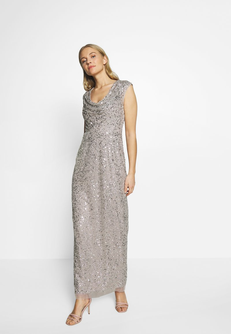 Adrianna Papell - LONG BEADED DRESS - Iltapuku - silver