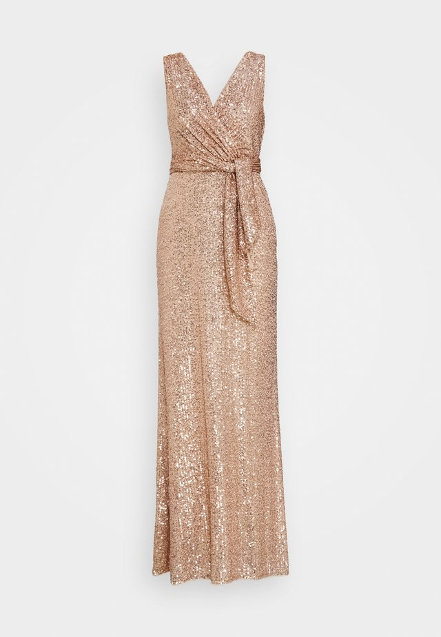 COWL BACK SEQUIN GOWN - Iltapuku - rose gold