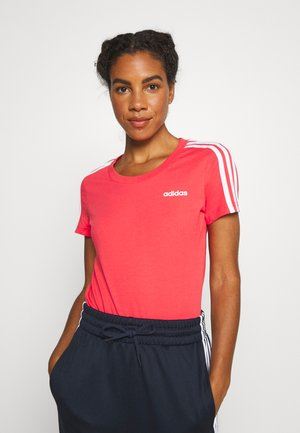 ESSENTIALS 3 STRIPES DAMEN - T-shirt print - pink/white
