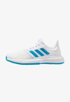 GAMECOURT - Clay court tennis shoes - footwear white/shock cyan/matte silver
