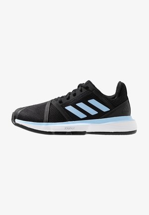COURTJAM BOUNCE CLAY - Clay court tennis shoes - core black/glow blue/footwear white