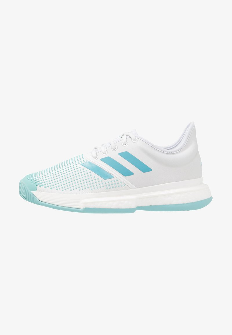 adidas Performance - SOLECOURT BOOST X PARLEY - Tennisschoenen voor kleibanen - white/vapour blue/blue spirit