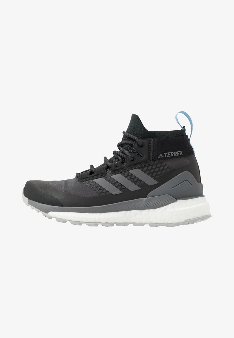 adidas Performance - TERREX FREE HIKER GORE TEX HIKING SHOES - Hiking shoes - carbon/grey/glow blue