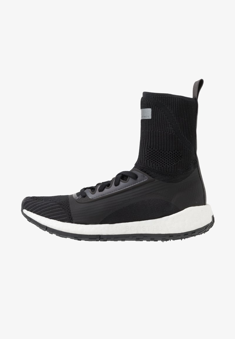 adidas by Stella McCartney - PULSEBOOST HD MID - Neutral running shoes - black/white/utility black/iron metallic