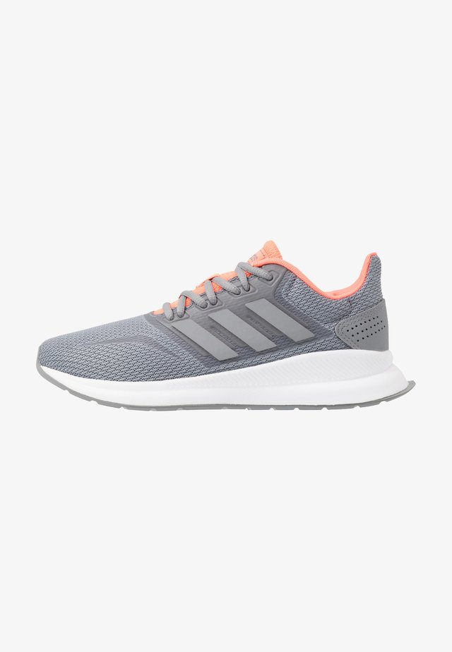 RUNFALCON - Neutral running shoes - grey/signal coral