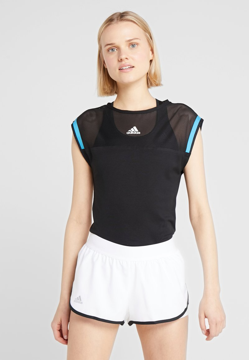 adidas Performance - ESCOUADE TEE - T-shirts print - black/shock cyan