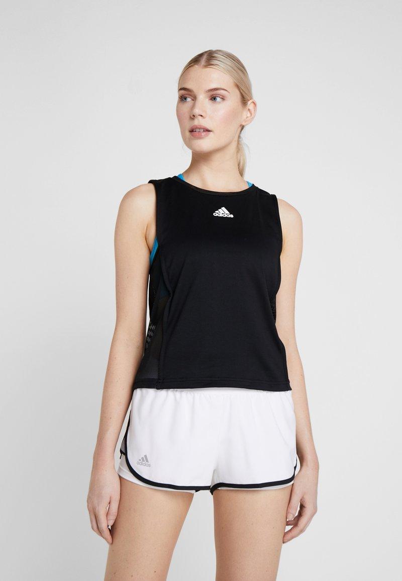 adidas Performance - ESCOUADE TANK - Sports shirt - black/shock cyan