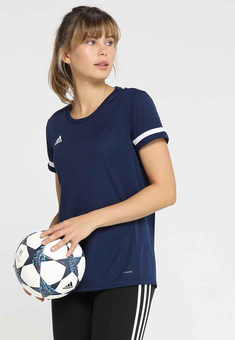 adidas Performance - TEAM 19 - T-shirt imprimé - navy blue/white