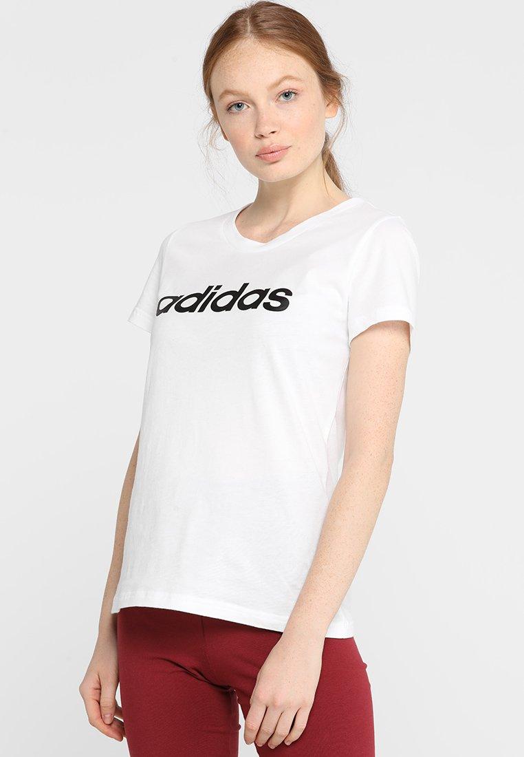 adidas Performance - LIN SLIM - T-shirts med print - white/black