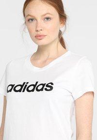 adidas Performance - LIN SLIM - T-shirts med print - white/black - 4