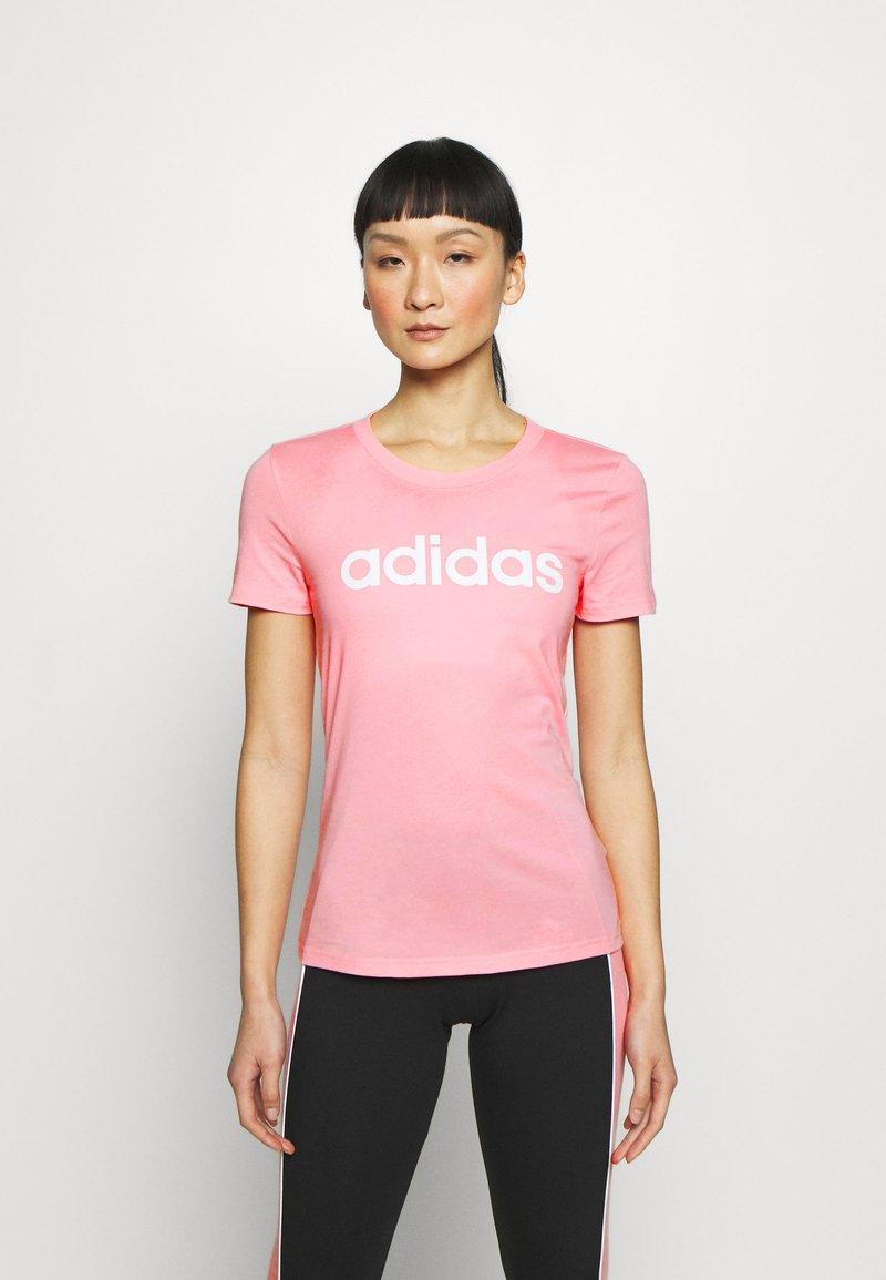 adidas Performance - ESSENTIALS SPORTS SLIM SHORT SLEEVE TEE - T-shirts print - pink/white