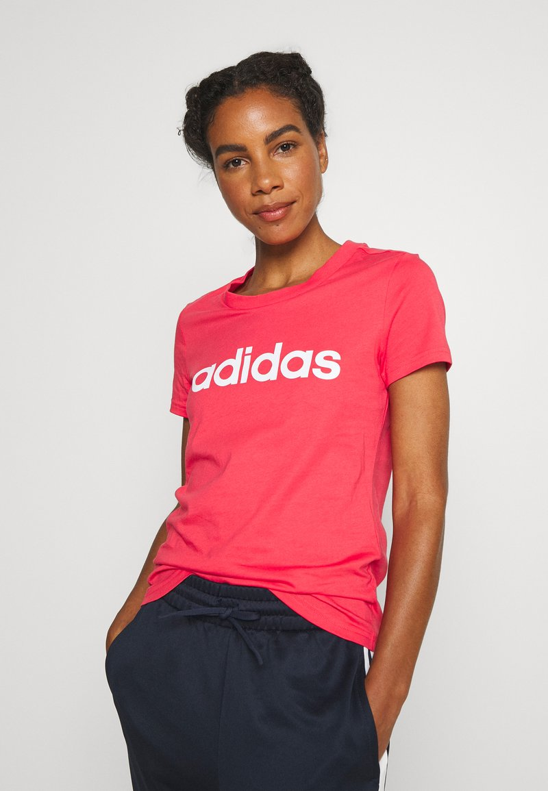 adidas Performance - ESSENTIALS SPORTS SLIM SHORT SLEEVE TEE - T-shirt print - pink/white