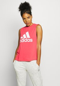 adidas Performance - MUST HAVES SPORT REGULAR FIT TANK TOP - Sports shirt - pink/white - 0