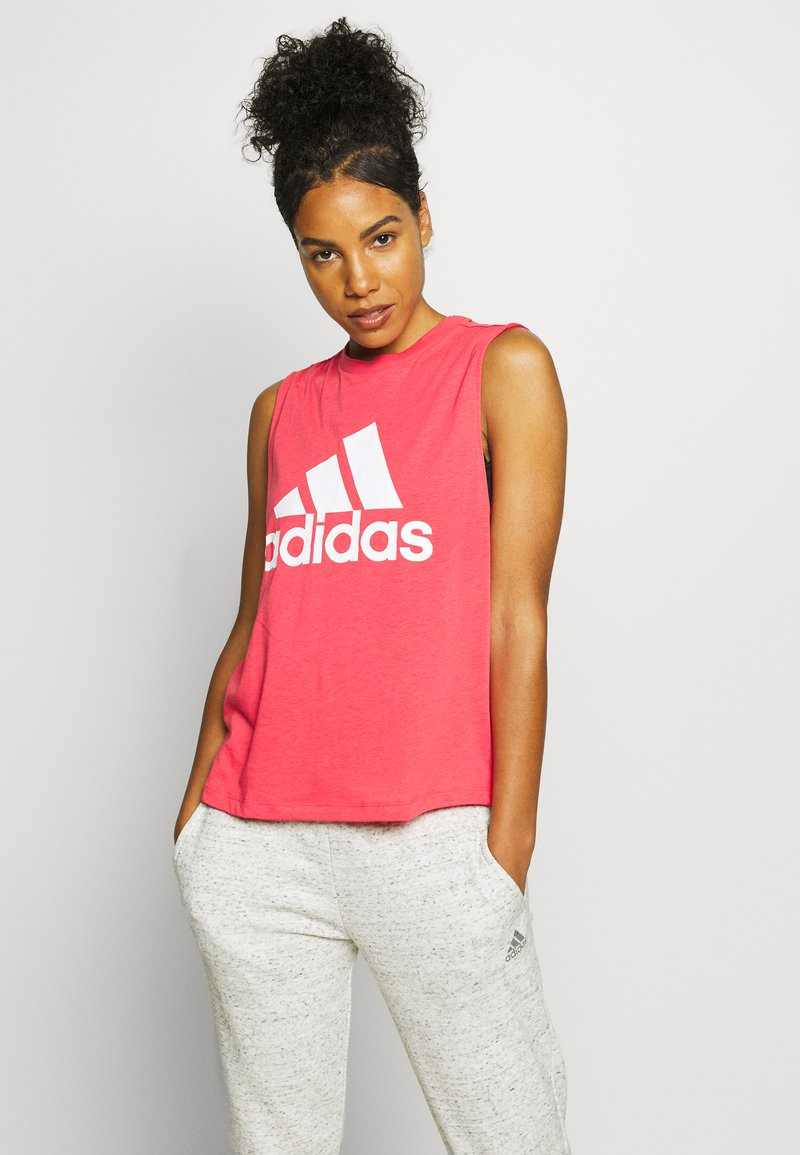 adidas Performance - MUST HAVES SPORT REGULAR FIT TANK TOP - Sports shirt - pink/white