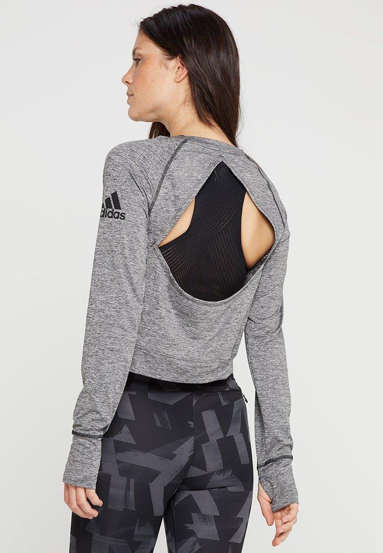 adidas Performance - OPEN BACK  - Maglietta a manica lunga - black/heather