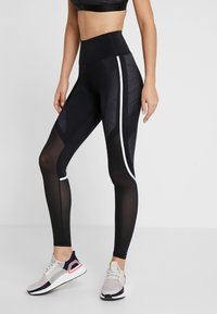 adidas Performance - SPORT CLIMACOOL WORKOUT HIGH WAIST LEGGINGS - Legging - black/white - 0