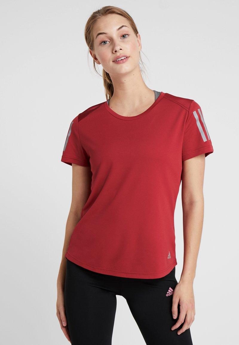 adidas Performance - OWN THE RUN TEE - Print T-shirt - dark red
