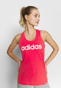 adidas Performance - SLIM - T-shirt z nadrukiem - pink/white - 0