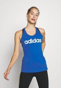 adidas Performance - SLIM - T-Shirt print - blue/white - 2
