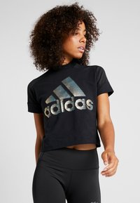 adidas Performance - GLAM TEE - T-shirt con stampa - black - 0