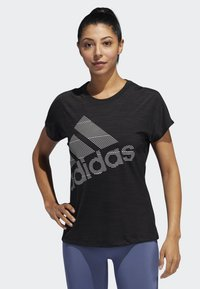adidas Performance - BADGE OF SPORT T-SHIRT - T-shirt con stampa - black - 0