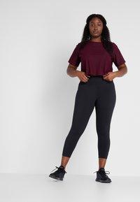 adidas Performance - CROP TEE - T-shirt basic - maroon - 1