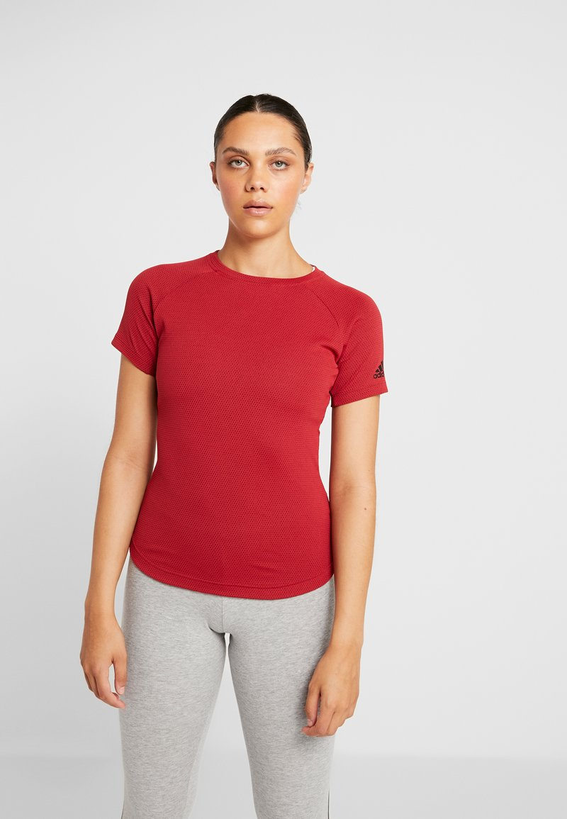 adidas Performance - FREELIFT  - T-shirt print - active maroon/black