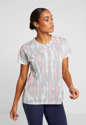 TEE - Print T-shirt - white/medium grey/glow pink