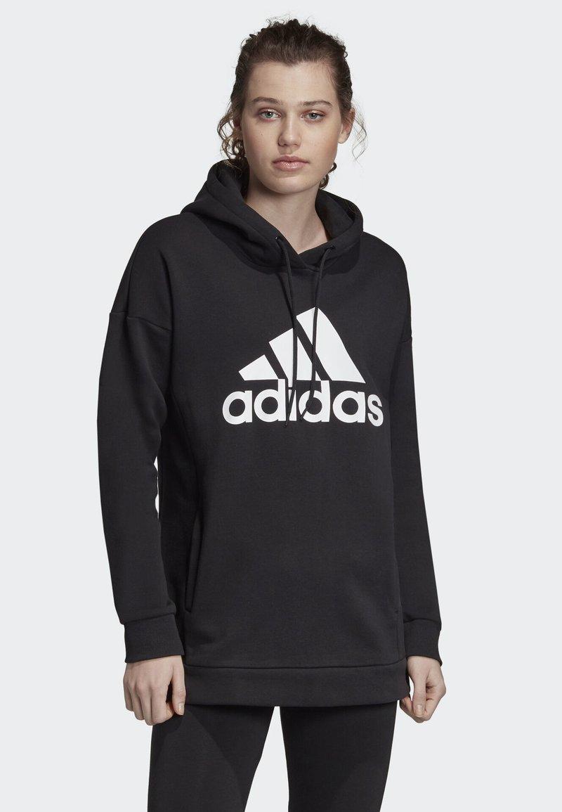 adidas Performance - MUST HAVES BADGE OF SPORT LOGO HOODIE - Hoodie - black