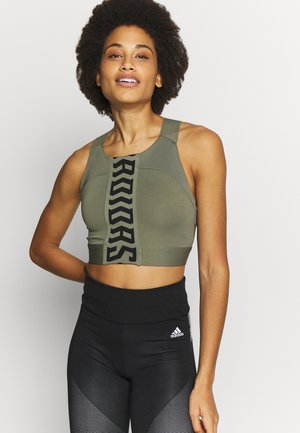 CROP - Sportshirt - green/black