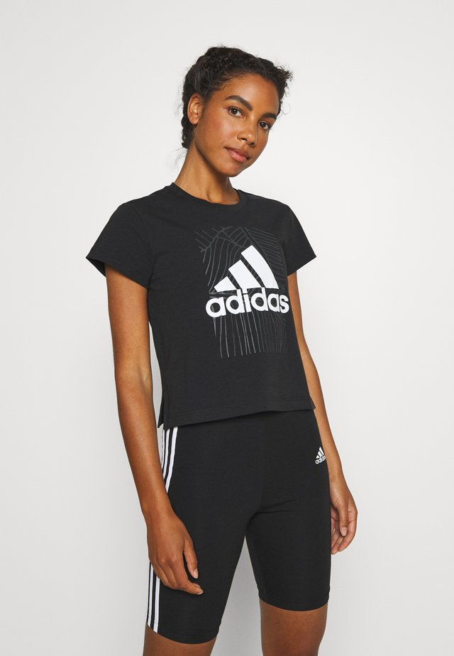 ADI VIBES TEE - Camiseta estampada - black/gresix/white