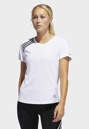 3-STRIPES RUN T-SHIRT - T-shirt print - white