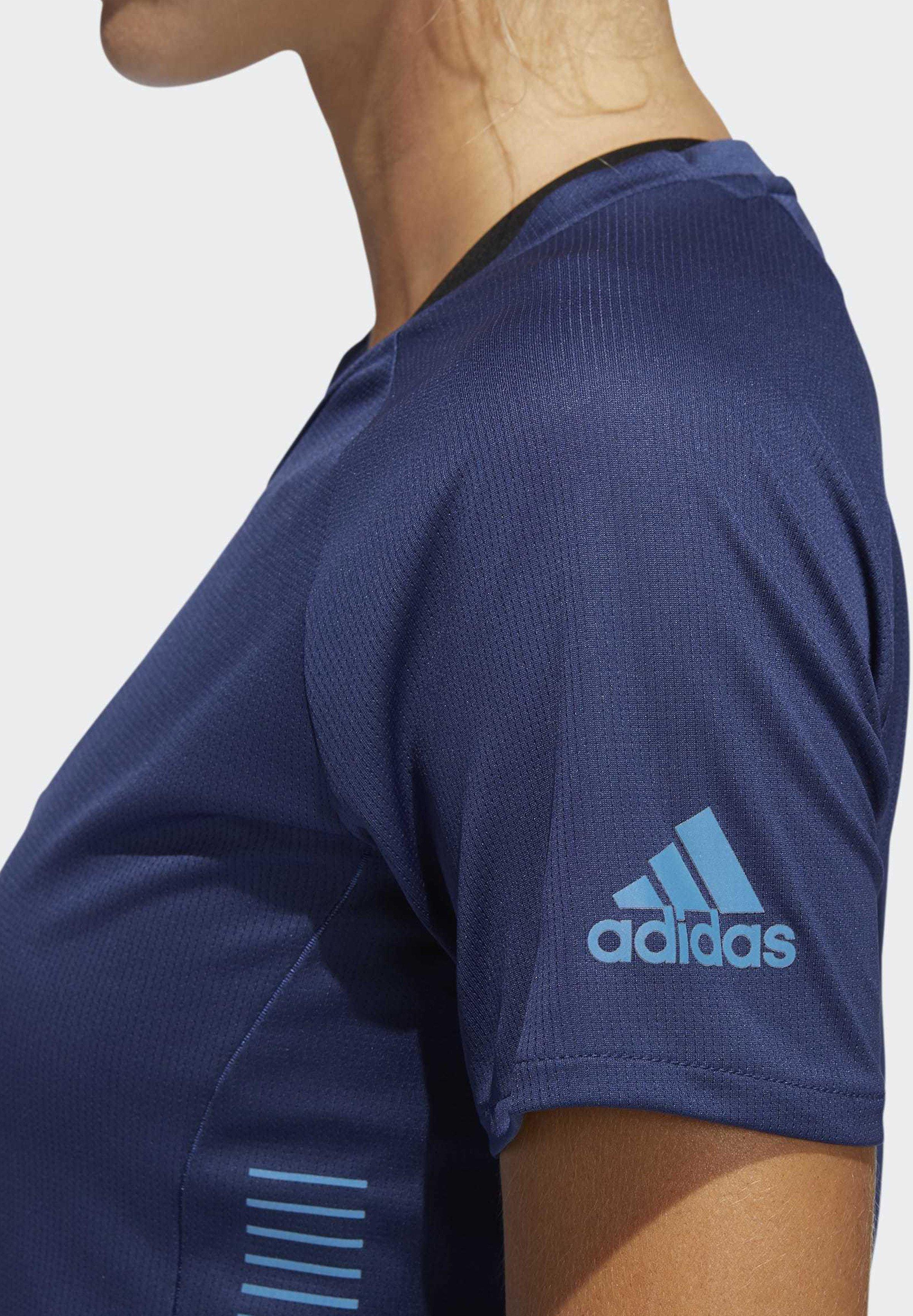 Adidas Performance Rise Up N Run Parley T-shirt - Med Print Tech Indigo