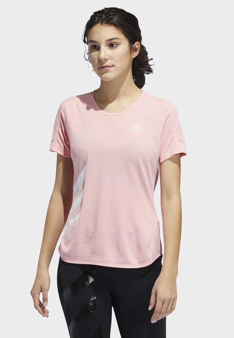 adidas Performance - RUN IT 3-STRIPES FAST T-SHIRT - Print T-shirt - glory pink