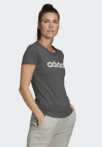 adidas Performance - ESSENTIALS LINEAR T-SHIRT - T-shirts med print - grey - 3
