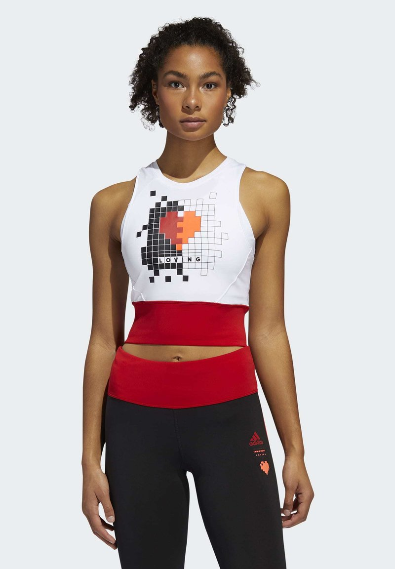adidas Performance - OWN THE RUN VALENTINE CROP TOP - Topper - white