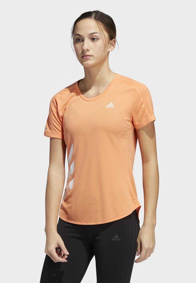 RUN IT 3-STRIPES FAST T-SHIRT - T-shirt print - orange
