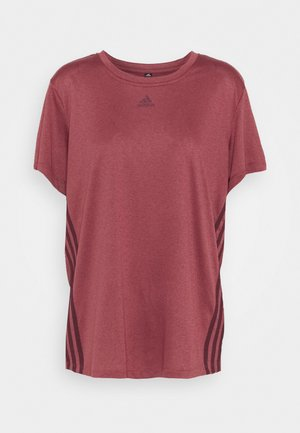 3 STRIPE TEE - T-shirt med print - legred/maroon