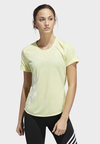 adidas Performance - RUN IT 3-STRIPES FAST T-SHIRT - T-shirt con stampa - yellow - 0