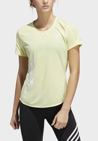 adidas Performance - RUN IT 3-STRIPES FAST T-SHIRT - T-shirt con stampa - yellow - 4