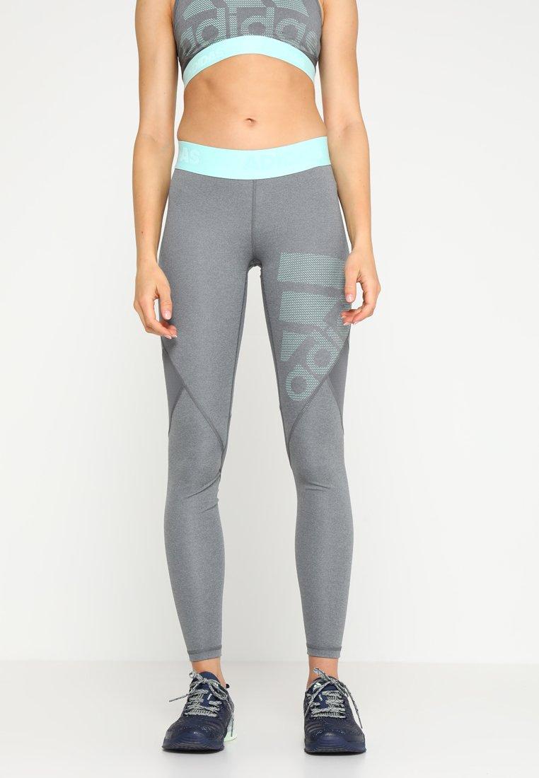 adidas Performance - Tights - dark grey heather/grey four/clear mint