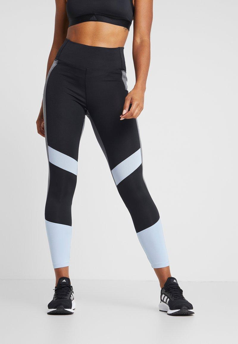 adidas Performance - Leggings - black/glow blue