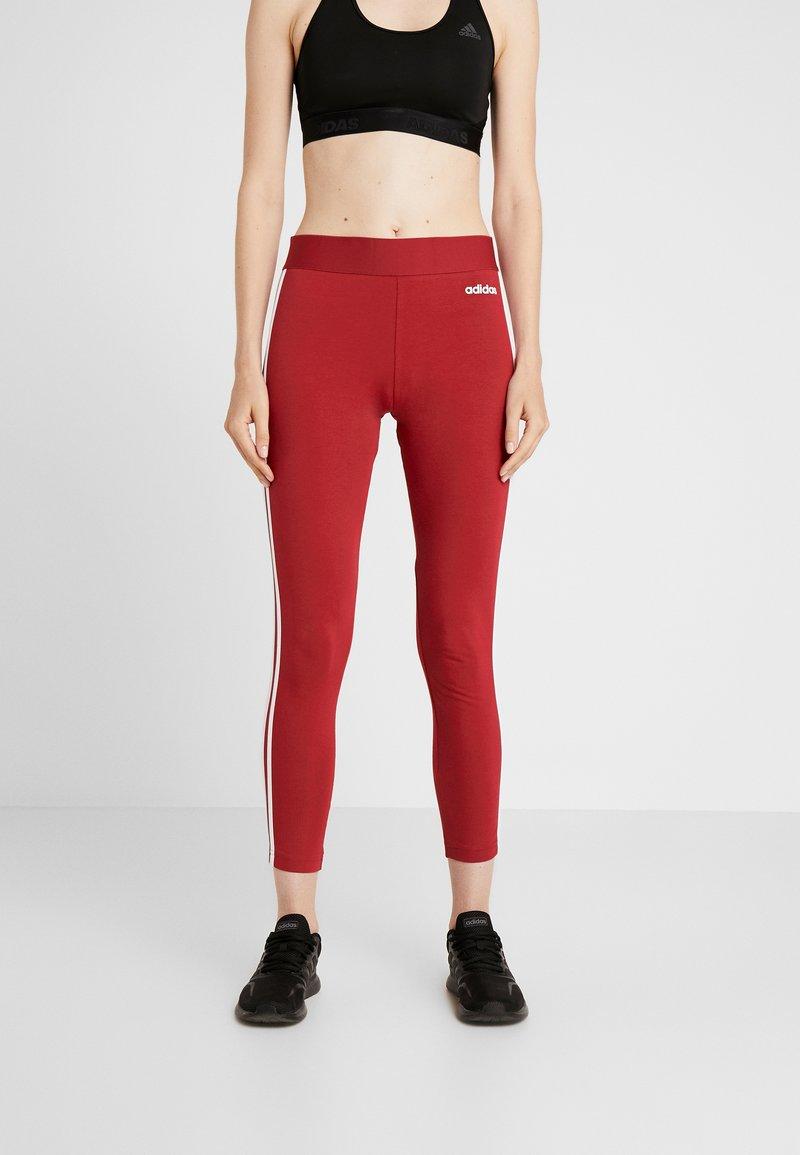adidas Performance - Tights - dark red/white